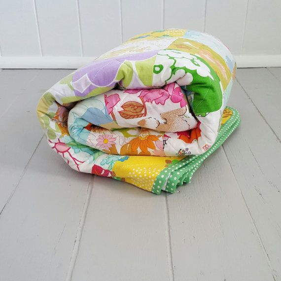 Vintage Fabric Patchwork Quilt Single by SheAdoresVintage on Etsy
