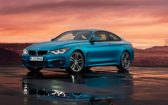 Download wallpapers 4k, BMW 4-series Coupe, 2018 cars, M Sport, F82, blue m4, BMW