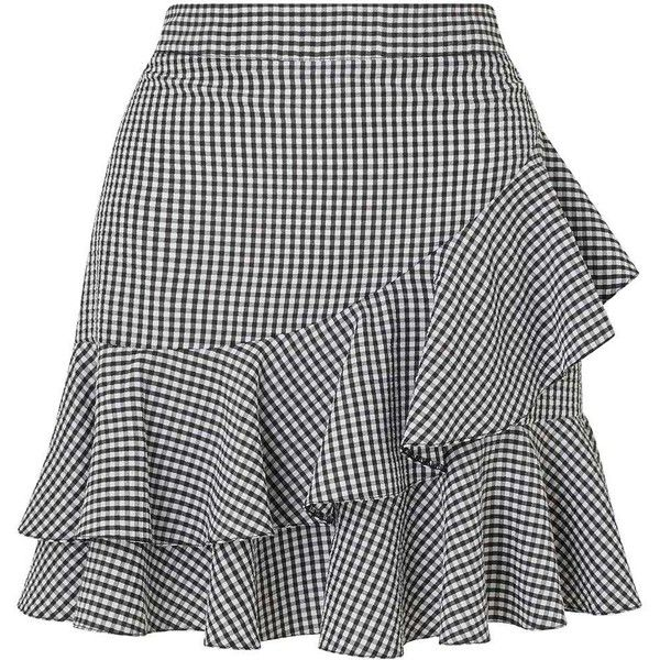 Miss Selfridge Black Gingham Ruffle Mini Skirt (1 420 UAH) ❤ liked on Polyvore featuring skirts, mini skirts, black, flounce skirt, frill skirt, ruffle mini skirt, short frilly skirt and frilled skirt