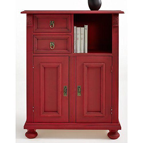 Gradel Alina Kommode Vintage Fichte Massiv lackiert rot - Möbel Mit www.moebelmit.de