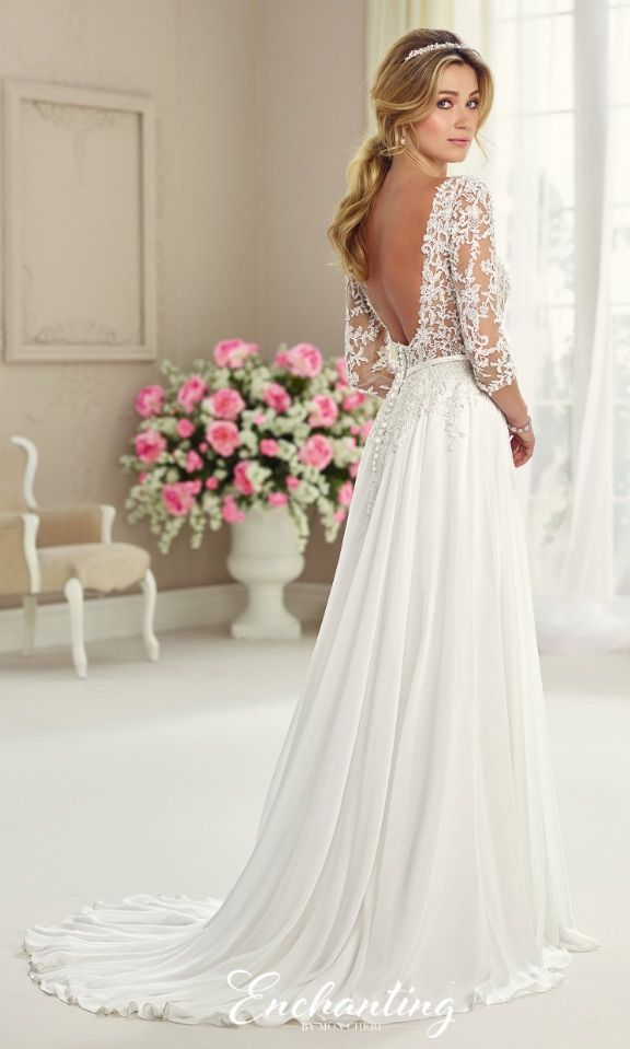 Courtesy of Enchanting by Mon Cheri Wedding Dresses; Wedding dress idea.