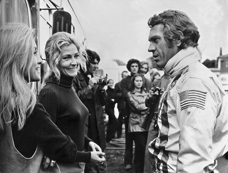 "Steve McQueen | King of Cool - From left : Louise Edlind, Elga Andersen and Steve McQueen in the motion picture ""LE MANS"" (1971). Also the names of Jacky Ickx, David Piper (GB), Pedro Rodriguez (MEX), Brian Redman (GB), Derek Bell (GB), Jo Siffert (CH) and many others appeared in the end credits as they drove the cars during filming. Jonathan Williams (GB), Rob Slotemaker (NL) and Herbert ..."