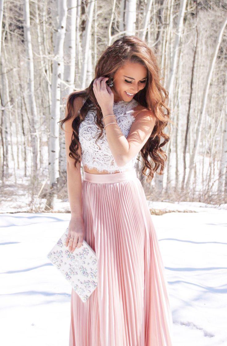 Lace Crop Top and Blush Pleated Maxi Under $30 - Sunshine & Stilettos Blog