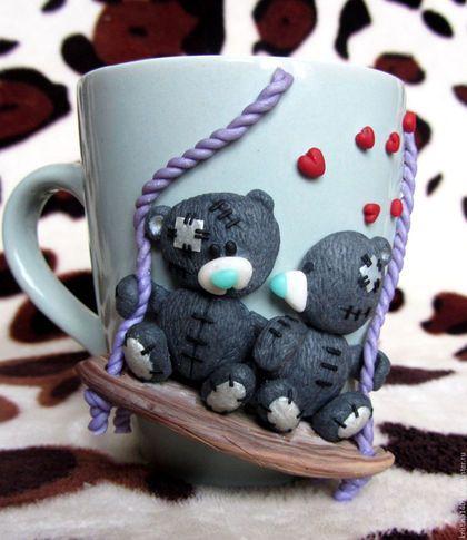 Подарки для влюбленных ручной работы. Ярмарка Мастеров - ручная работа. Купить Чашка с декором из полимерной глины подарок на день влюбленных. Handmade.