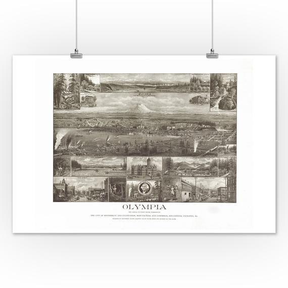Detroit Michigan 1889 Historic Panoramic Town Map 24x36
