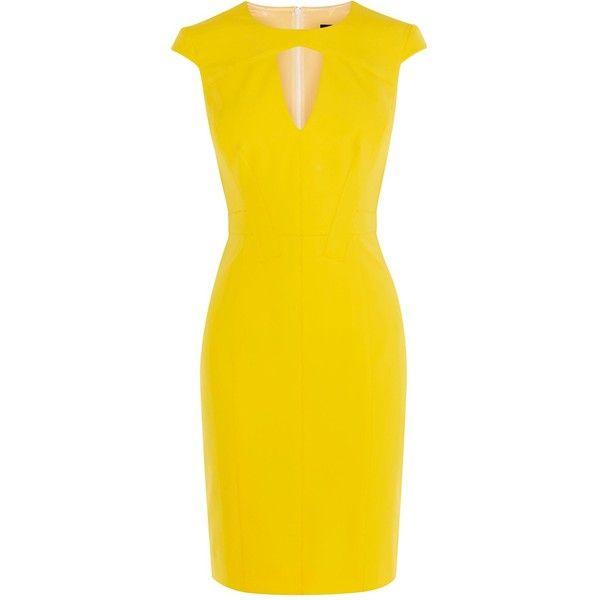 Karen Millen Yellow Scuba Pencil Dress (7,140 INR) ❤ liked on Polyvore featuring dresses, sale women dresses, yellow fitted dress, lining dress, karen millen dresses, body con dresses and bodycon pencil dress