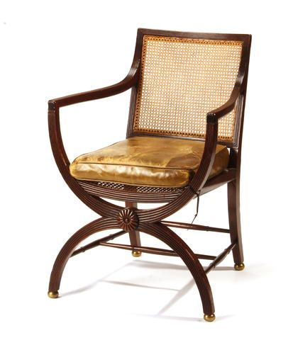 A Regency Caned And Mahogany Library Chair First Quarter 19th Century