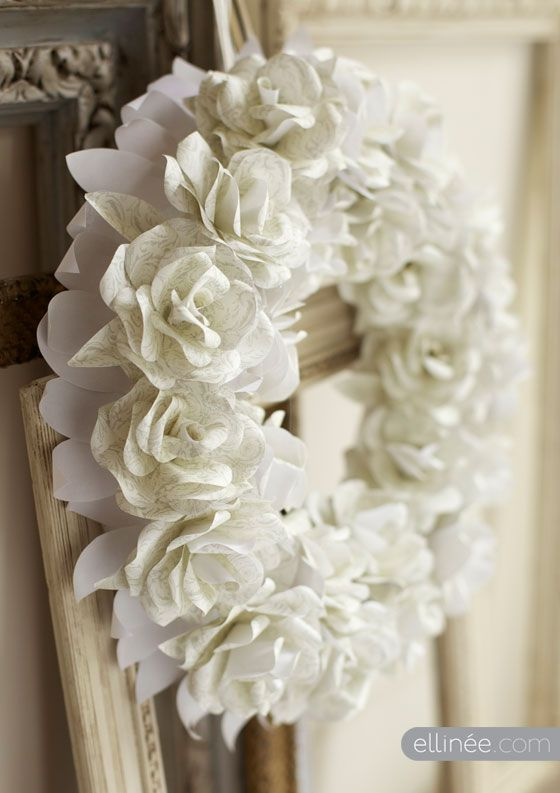 DIY Paper Rose Wreath by Ellinee