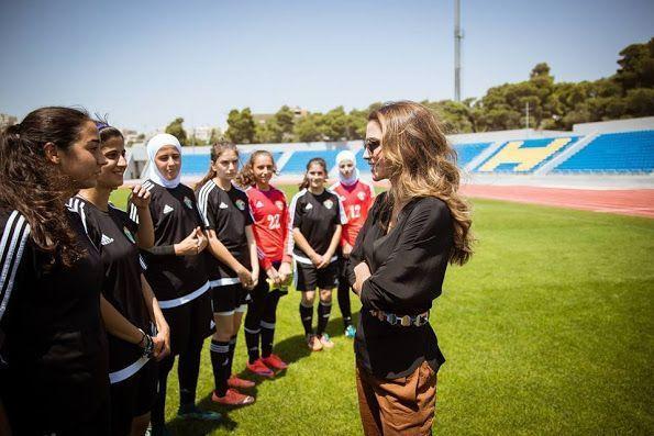 Queen Rania of Jordan met with female football players in the Under 17 Women's...