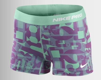 Compression Shorts by Nike. They have different patterns or in solid colours. Great for layering under dresses and skirts.