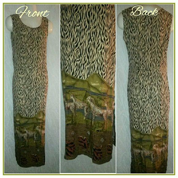 "Gorgeous Animal Print Dress California Krush Gorgeous Anima Print Long Dress *Approximately 40"" Long from Armpit to Hemline *Side Slit 100% Rayon Hand Wash Cold California Krush Dresses"