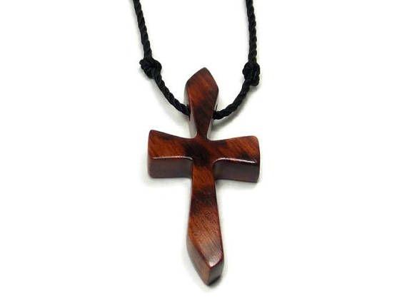 Handmade Snakewood Cross Pendant for Men or Women