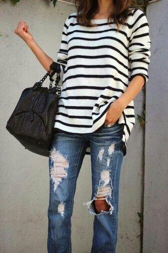 Boyfriend jeans and bold stripes
