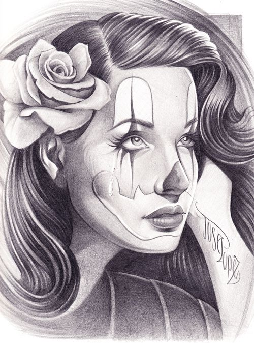 Chicano Art Tattoos   Pin Up Clown Girl Art Drawing Picture. Here is a dope drawing of a Pin ...