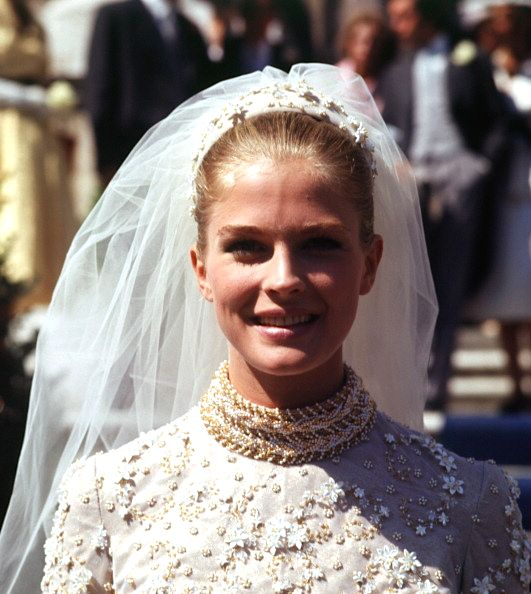 Candice Bergen in a bridal gown while filming in Italy, 1968