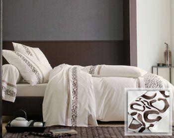 linge de lit percale motif léopard brodé - Becquet