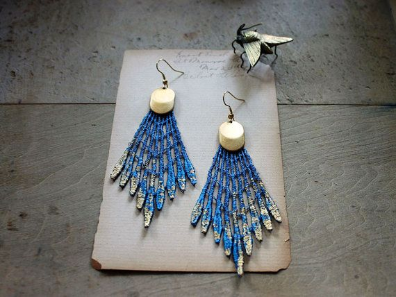 Channel your inner peacock with these delicate cobalt-and-gold lace earrings. #etsyfinds