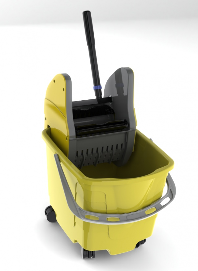 Mop Bucket with Wringer in SolidWorks