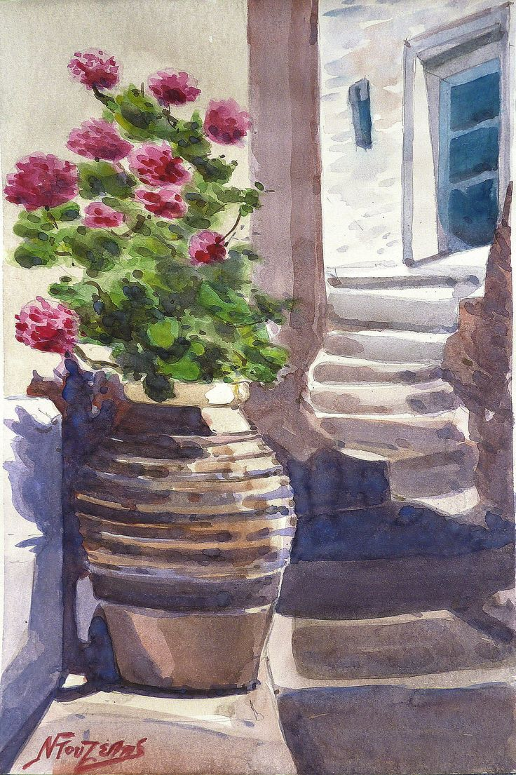 ''Greek summer''30x40cm watercolor by Babis Douzepis
