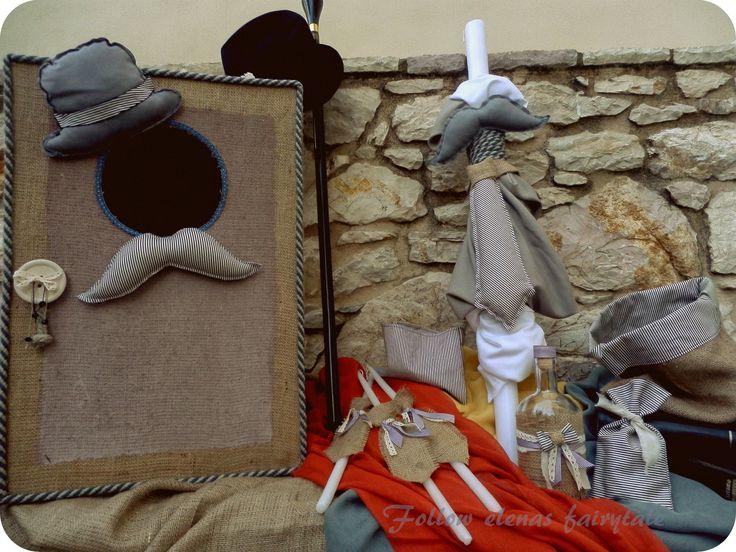 Follow Elena's fairytale: Σετ βάπτισης με μουστάκια και καπέλο....