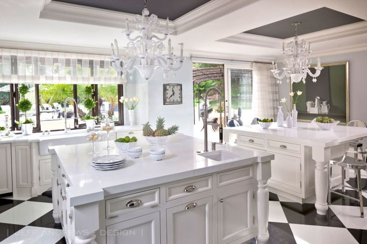 Love the dark gray in the ceiling!  Kris Jenner's L.A. mansion has been redecorated by Jeff Andrews.
