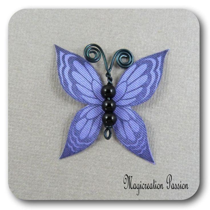 papillon 3.5 cm soie violet corps de perles noires et métal noir-Ysatis : Décoration d'intérieur par les-tiroirs-de-magicreation-passion
