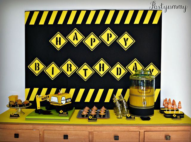 Awesome dessert table at a Construction boy birthday party!  See more party ideas at CatchMyParty.com!