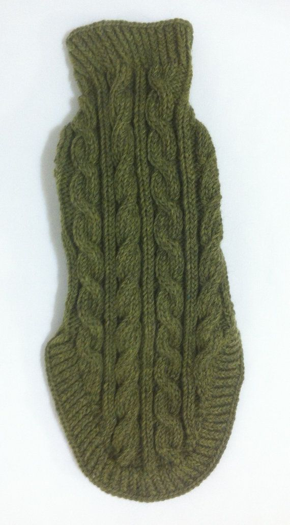 Classic Aran Knit Dog Sweater in Green by lynndalou on Etsy
