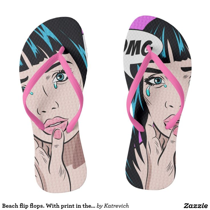 Beach flip flops. With print in the Pop Art style