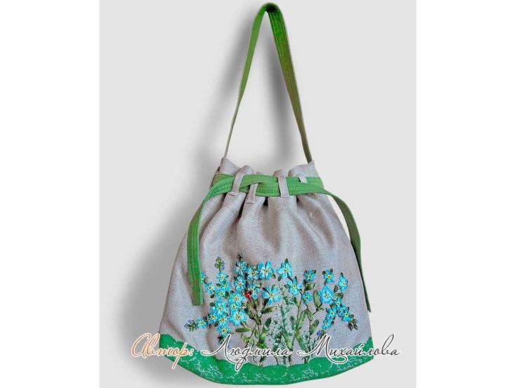 Дизайнерские сумки, авторские сумки, вышивка лентами, авторский дизайн, авторский дизайн сумок, декор, вышивка лентами незабудки