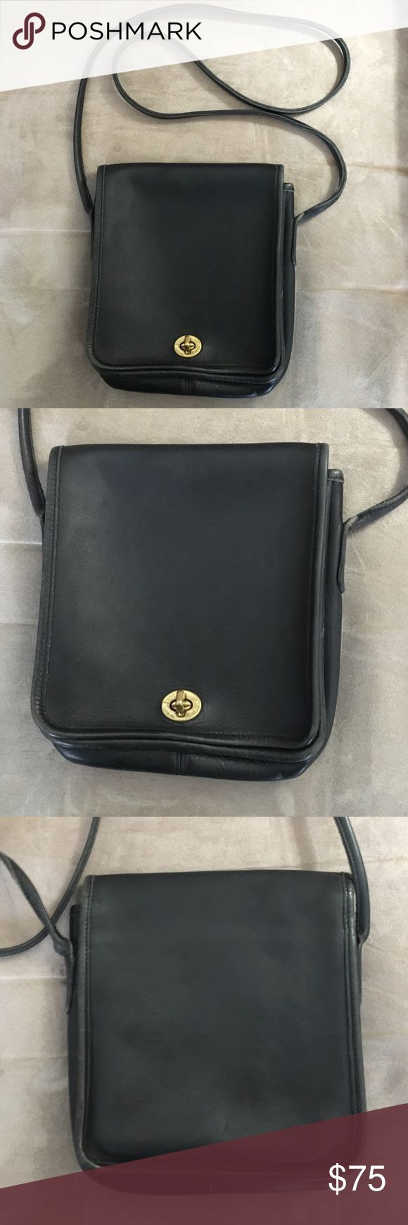 """Vintage USA coach shoulder bag black leather Authentic Vintage made in the USA coach cross body shoulder bag black leather. Dimensions: 8""""x8""""x2"""". Strap length is 48"""" and width is .25"""" Coach Bags Crossbody Bags"""