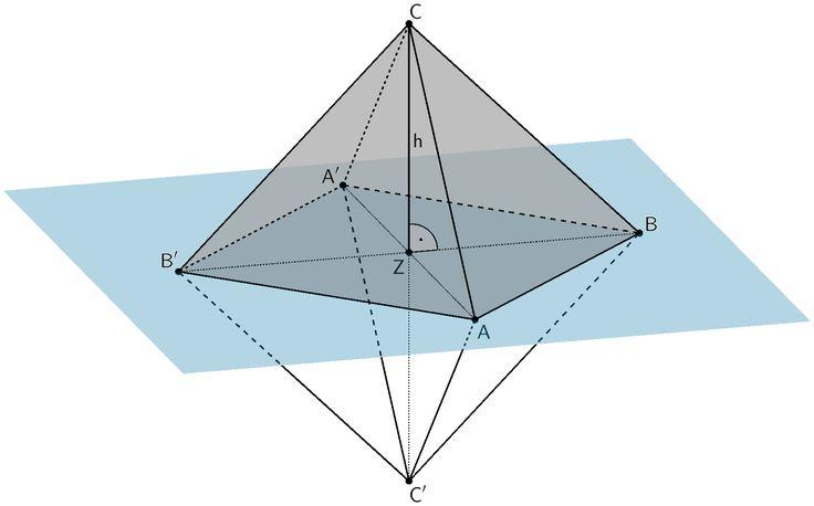 Oktaeder ABA'B'CC', Pyramide ABA'B'C mit Höhe h und Ebene, in der die Punkte A, B und Z liegen