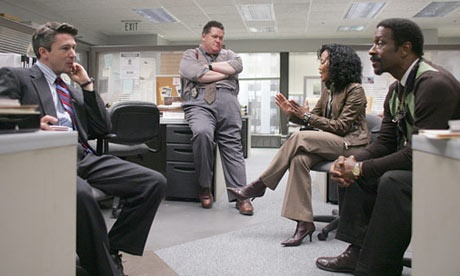 Aidan Gillen as Carcetti, Delaney Williams as Landsman, Sonja Sohn as Kima and Clarke Peters as Freamon in The Wire (Season 4)