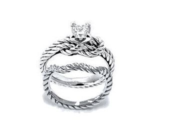 Woven Rope Unique Engagement Ring Wedding Jewelry Bridal Sterling Rings Square Reef Knot Nautical Ring Jewellery