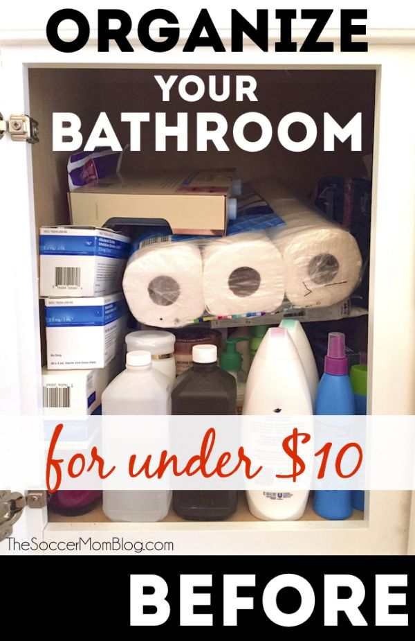 A clean, organized bathroom doesn't have to take hours or cost a ton of money! These bathroom organization hacks make it easy to declutter and it's all under $10!