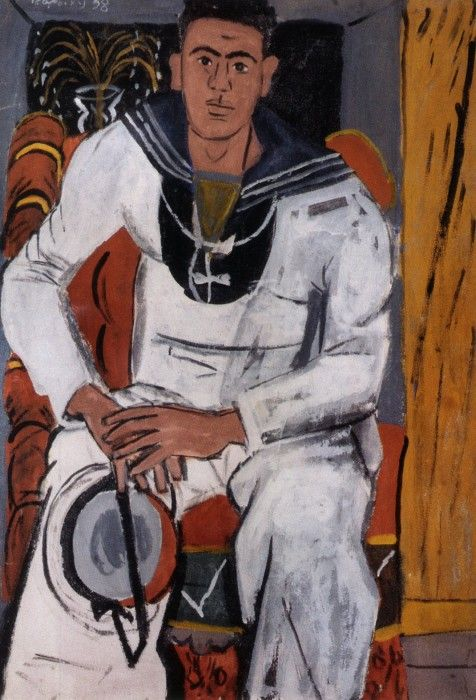 Ναύτης με κεραμιδί πρόσωπο, σε καπιτονέ πολυθρόνα, 1938. Τσαρουχης