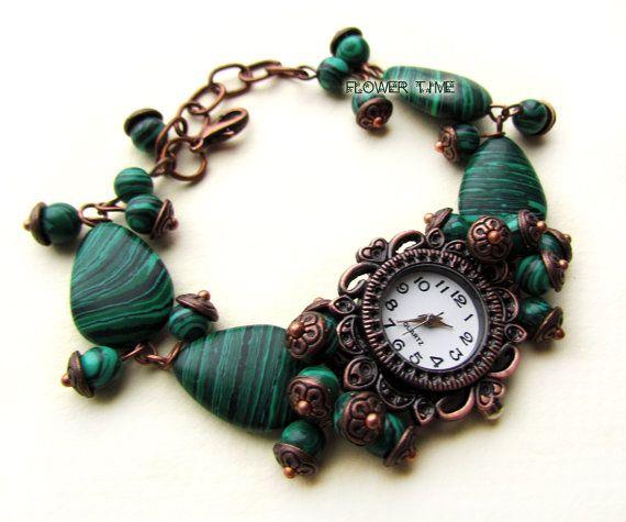 Woman wrist watch Copper quartz watch green watch  by FlowerWatch