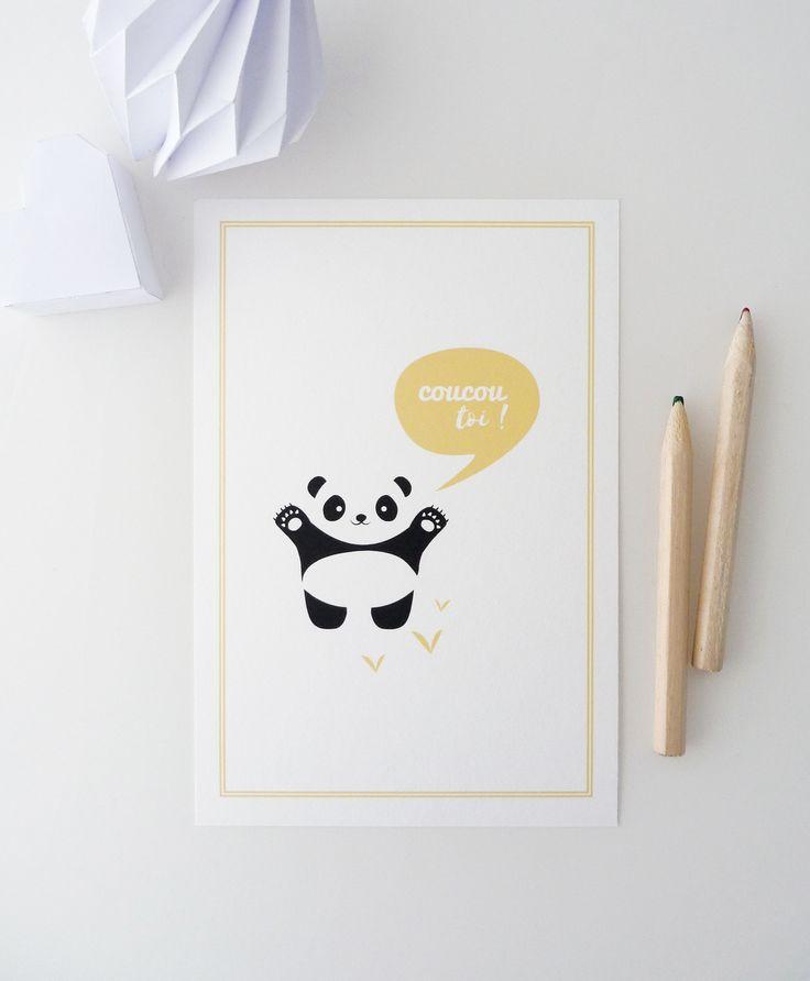 """Carte postale """"Coucou toi !"""" illustrée d'un petit panda : Cartes par papierpapier"""