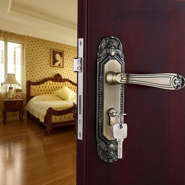 High Quality Hard Zinc Alloy Door Locks Antique Europeum Style Hotel Anti-theft Door Mechanical Indoor Handle Lock