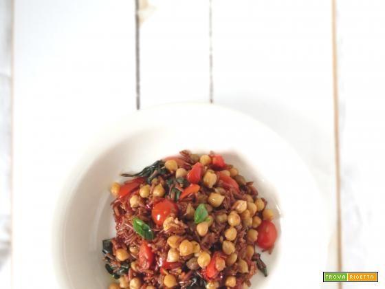 Riso ermes rosso con ceci, pomodori secchi e basilico #ricette #food #recipes