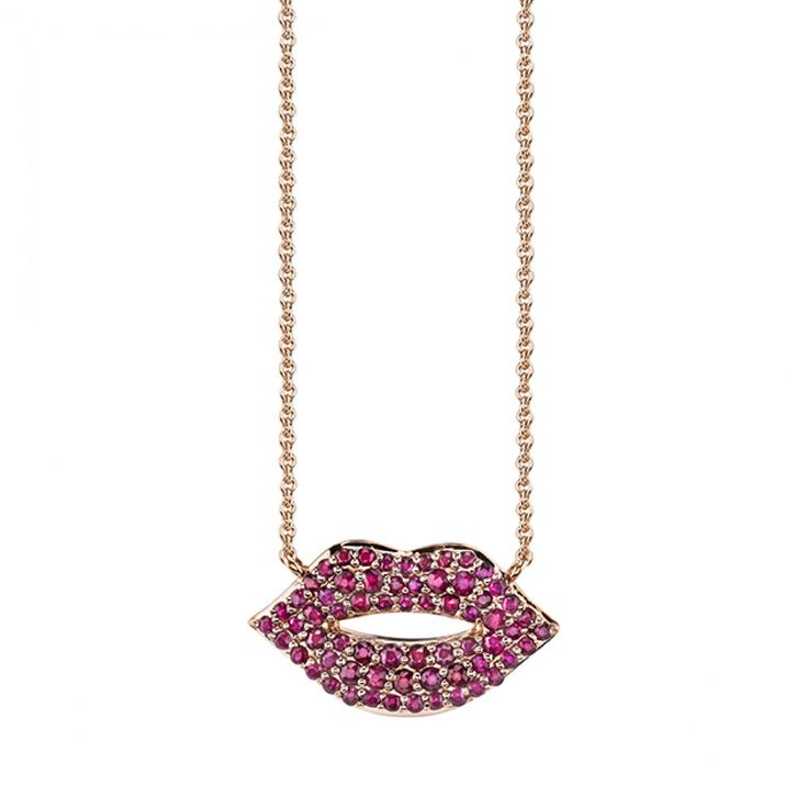Rose-Gold & Ruby Pavé Medium Lips Necklace - Necklaces - Jewelry - Sydney Evan