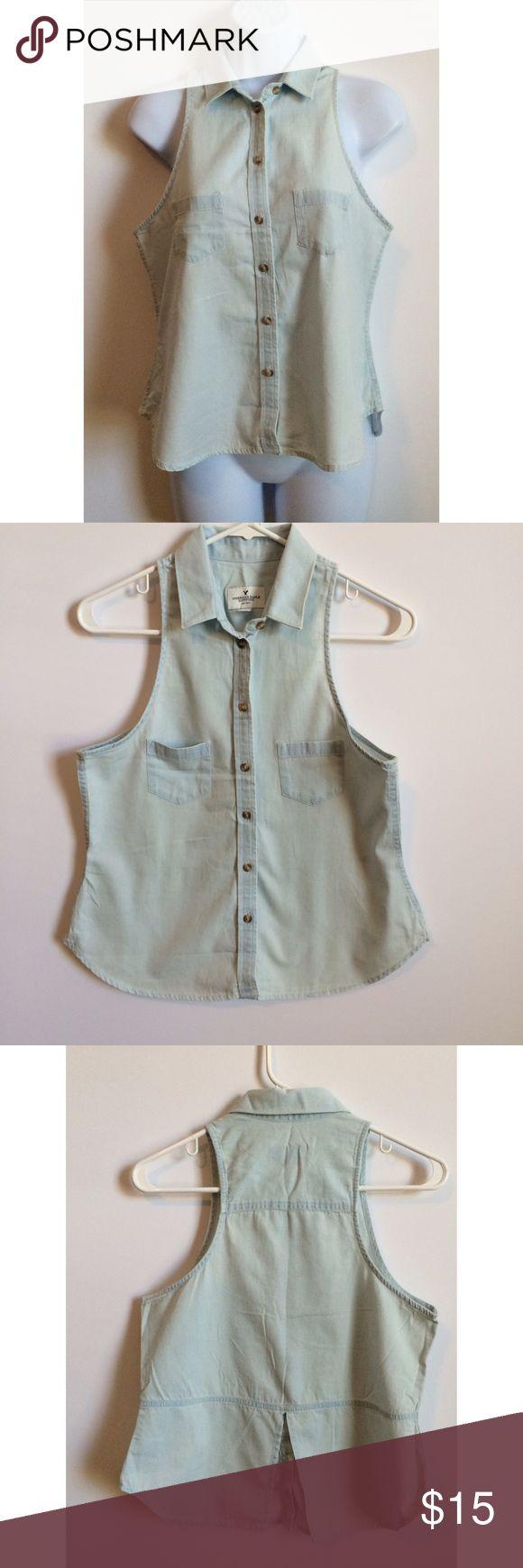 American Eagle Sleeveless Denim Shirt Love this sleeveless denim shirt!  Supercute and great for summer! PRICE IS NOT FIRM OFFERS ACCEPTED UPON REQUEST... Material:  Measurements: Armpit to Armpit:  Length: American Eagle Outfitters Tops