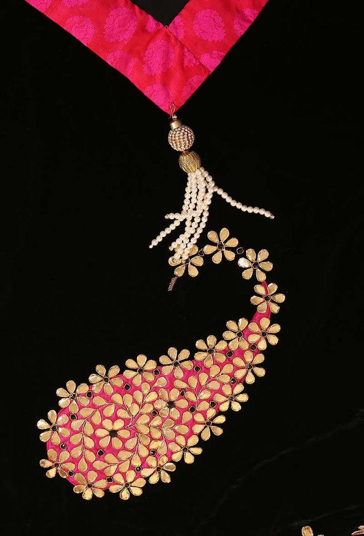Black gota patti velvet odani Dimension: L: 76 inches, W: 36 inches Color: Black & multi-color Material: Velvet Finish: Hand-embroidered Inspiration: Mughal Embroidery