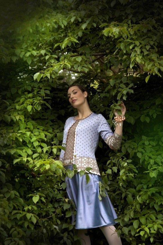 Oleana Silk & Merino Wool Cardigan Design 177-B  Knit Top Design 176-B  Button Bracelet, Silk Skirt Design 75-QC Norwegian Sweaters