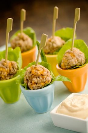 Sausage Balls with dip of 1 T. mustard and 1 C. mayonnaise