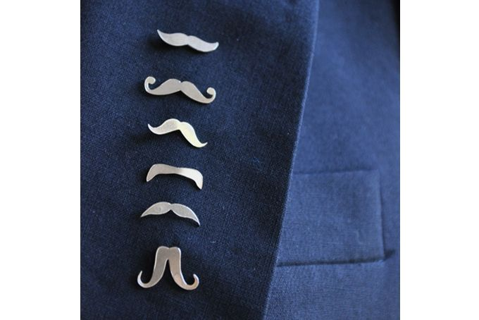 Mustache Silver Lapel Pins - Sets of 3 by SMITH Jewellery