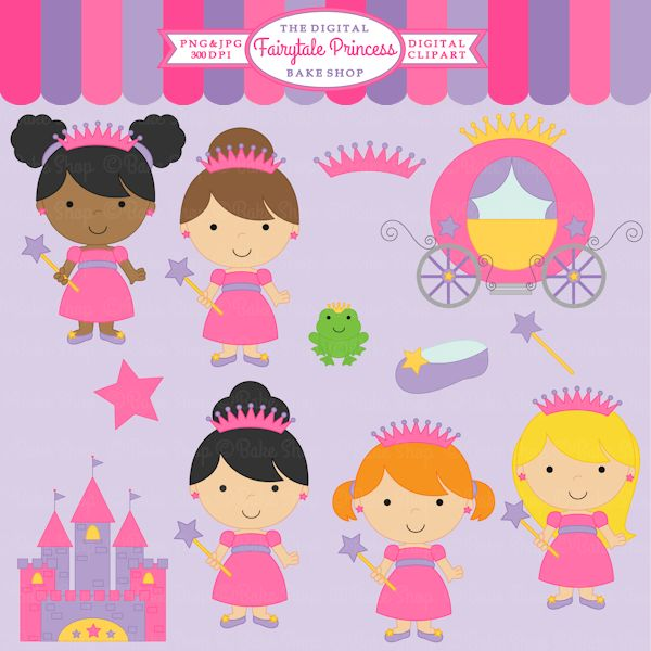 Fairytale Princess Clipart - cute for invites, stationery, crafts and more.