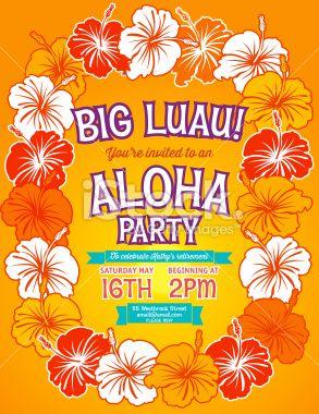 34 best luau christmas party images on pinterest hawaiian luau aloha hawaiian party invitation royalty free stock vector art illustration stopboris Gallery