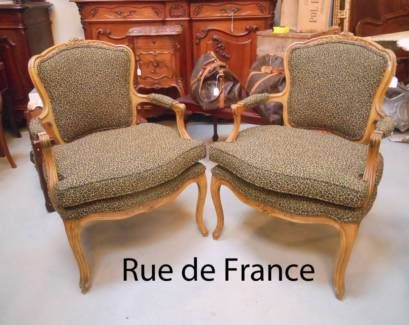FINE ANTIQUE FRENCH CARVED BEECH ARMCHAIRS