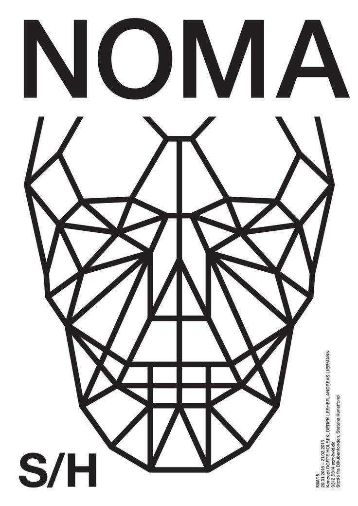 NOMA. Winner concept of RUM/15. Graphics Wrong Studio ©2014. #sorthvidcph #sorthvid #poster #sorthvidposter #2014 #typography #graphicdesign #blackandwhite #minimalistic #stageart #art #visualart #noma #food #installation #skull #drawing